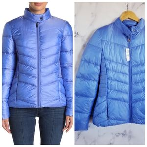 VIA SPIGA Smocked Quilted Puffer Blue Jacket